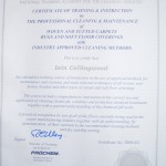 This Certificate shows a completed carpet cleaning course carried out by myself
