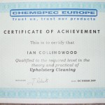 Upholstery Cleaning Certificate